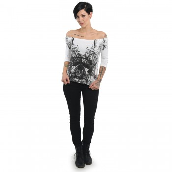 Ornamental Skull Off Shoulder Longsleeve