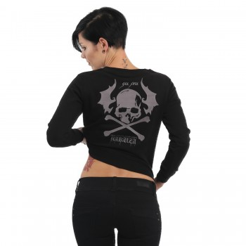 Flying Skull Cropped Sweater