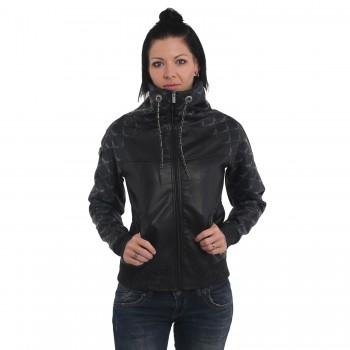 Memento Mori High Neck Faux Leather Jacket