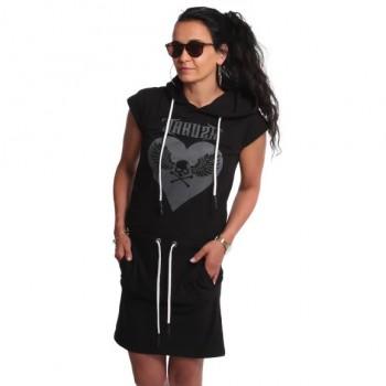 Based Hooded T-Shirt Kleid,...