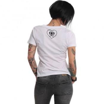 Stone V-Neck T-Shirt, weiß
